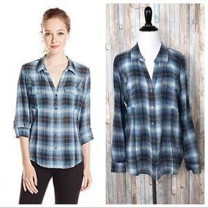 Joie M Blue Gray Lynn Plaid Button Down Shirt Top